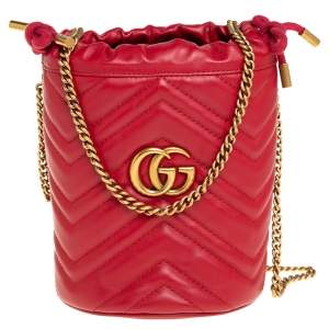 Gucci Red Matelasse Leather Mini GG Marmont Torchon Bucket Bag