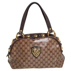 Gucci Beige/Brown GG Crystal Canvas Babouska Crest Dome Bag