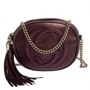 Gucci Metallic Purple Leather Mini Soho Disco Chain Crossbody Bag