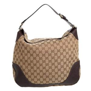 Gucci Brown/Beige GG Canvas and Leather Hobo