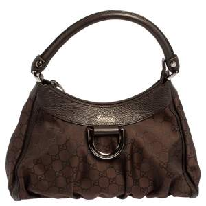 Gucci Brown GG Nylon and Leather Small D Ring Hobo