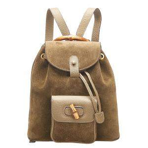 Gucci Brown Suede Bamboo Drawstring Backpack