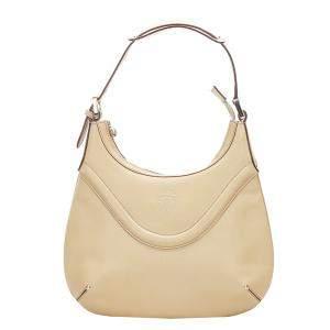 Gucci Beige Leather Crest Messenger Bag