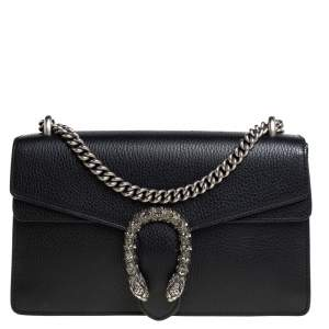 Gucci Black Leather Small Dionysus Shoulder Bag