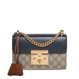 Gucci Black/Beige GG Supreme Canvas and Leather Small Padlock Shoulder Bag