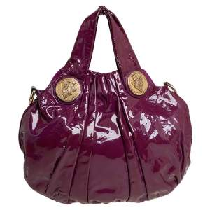 Gucci Purple Patent Leather Small Hysteria Hobo