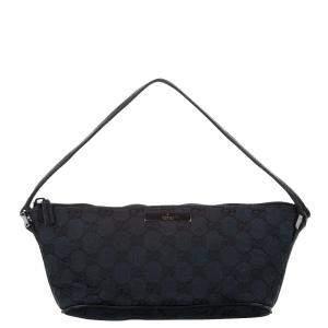 Gucci Black GG Canvas Boat Baguette Bag