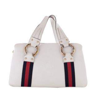 Gucci White/Ivory Leather Metal Bamboo Top Handle Bag