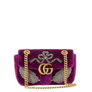 Gucci Purple Quilted Velvet Crystal Embellished GG Marmont Crossbody Bag