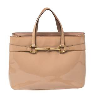 Gucci Beige Patent Leather Medium Bright Bit Tote