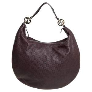 Gucci Dark Brown Guccissima Leather Large GG Twins Hobo