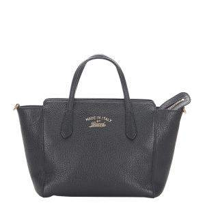 Gucci Black Leather Mini Swing Tote Bag