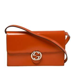 Gucci Orange Patent Leather Interlocking G Flap Clutch Bag
