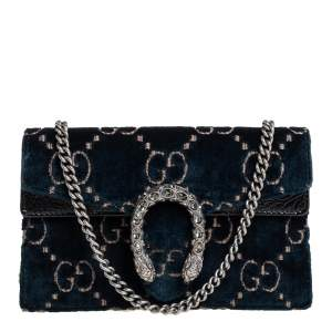 Gucci Blue/Black GG Velvet and Patent Leather Super Mini Dionysus Crossbody Bag