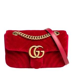 حقيبة كتف غوتشي مارمونت جي جي صغيرة قطيفة ماتيلاس أحمر