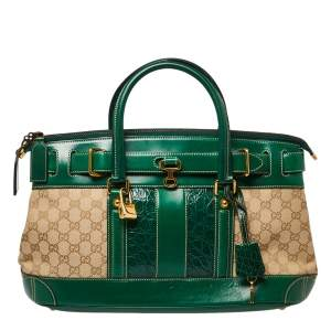Gucci Green/Beige GG Canvas, Crocodile and Leather Secret Web Tote