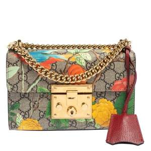 Gucci Multicolor GG Supreme Canvas and Leather Small Padlock Shoulder Bag