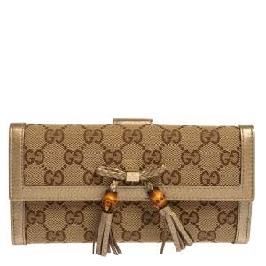 Gucci Beige/Gold GG Canvas and Leather Bamboo Tassel Bella Continental Wallet