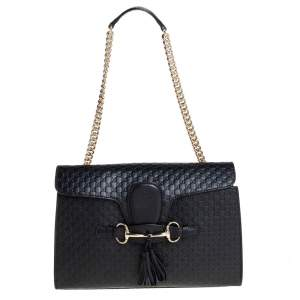 Gucci Black Microguccissima Leather Medium Emily Shoulder Bag