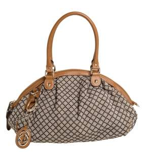 Gucci Beige/Tan Diamante Canvas and Leather Medium Sukey Boston Bag