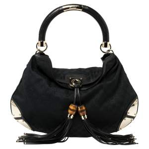 Gucci Black GG Canvas and Leather Large Babouska Indy Hobo