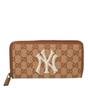 Gucci Beige/Brown GG Canvas and Leather New York Yankees Zip Around Wallet