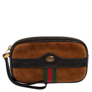 Gucci Brown/Black Suede and Patent Leather Ophidia Wristlet Pouch