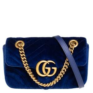 Gucci Blue Matelasse Velvet Mini GG Marmont Shoulder Bag