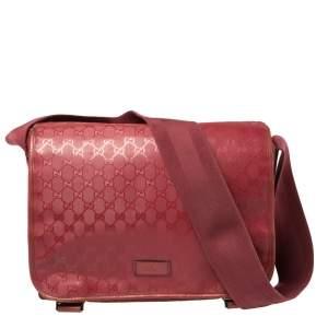 Gucci Dark Pink GG Imprime Coated Canvas Messenger Diaper Bag