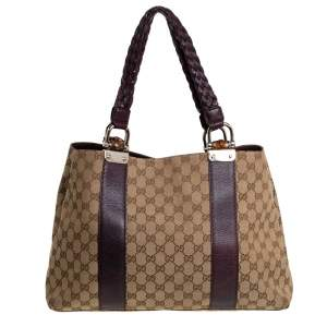 Gucci Beige/Purple GG Canvas and Leather Medium Bamboo Bar Tote