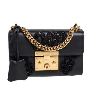 Gucci Black Leather Small Snake Crystal Embroidered Padlock Shoulder Bag
