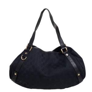 Gucci Black GG Canvas and Leather Abbey Hobo