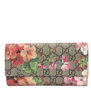 Gucci Multicolor GG Supreme Canvas Blooms Continental Wallet