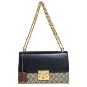 Gucci Beige/Black GG Supreme Canvas and Leather Medium Padlock Shoulder Bag