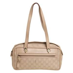 Gucci Beige GG Canvas and Leather Satchel