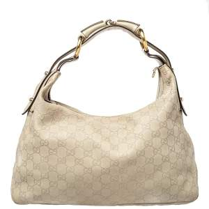 Gucci Cream Guccissima Leather Medium Horsebit Hobo