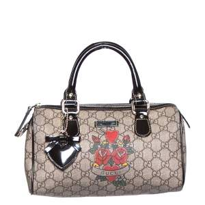 Gucci Beige/Ebony Heart Tattoo GG Supreme Canvas and Leather Small Joy Boston Bag