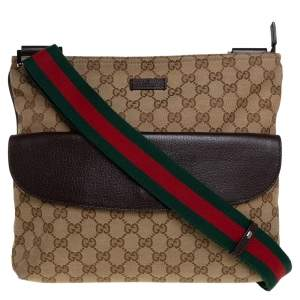 Gucci Beige/Ebony GG Canvas Web Messenger Bag