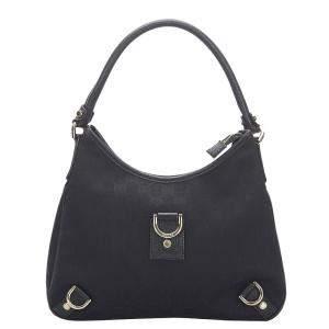 Gucci Black GG Canvas Abbey Hobo Bag