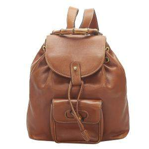 Gucci Brown Leather Bamboo Drawstring Backpack