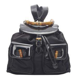 Gucci Black Nylon and Leather Bamboo Drawstring Backpack