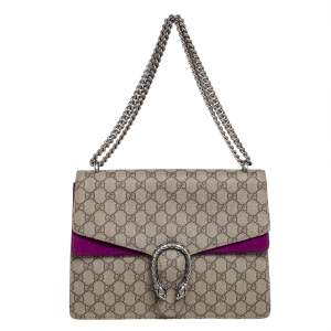 Gucci Purple/Brown GG Supreme Canvas Dionysus Medium Shoulder Bag