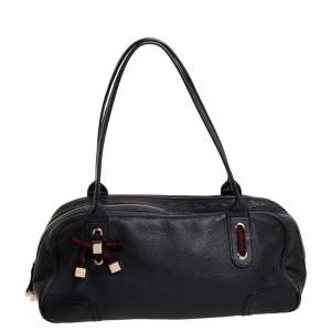 Gucci Black Leather Princy Boston Bag