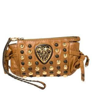 Gucci Brown Leather Babouska Hysteria Clutch