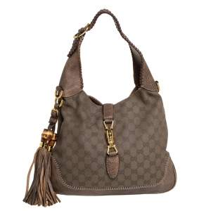 Gucci Khaki Green Canvas and Leather Medium New Jackie Hobo