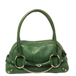 Gucci Green Leather Large Horsebit Chain Satchel