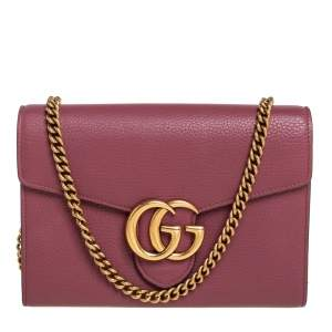 Gucci Old Rose Leather GG Marmont Wallet on Chain
