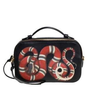 Gucci Black Leather Kingsnake Print Camera Crossbody Bag