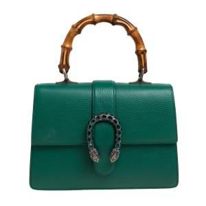 Gucci Green Leather Medium Dionysus Bamboo Top Handle Bag