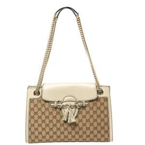 Gucci Beige GG Canvas and Leather Large Emily Chain Shoulder Bag